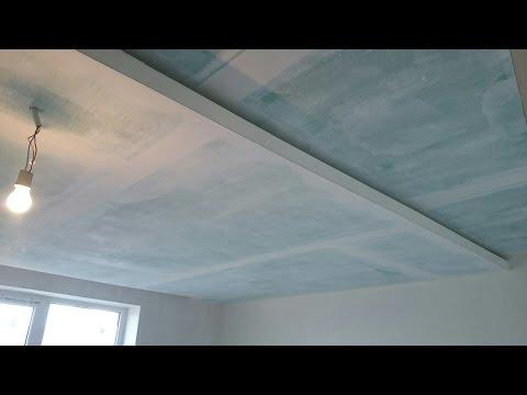 потолок с подсветкой и нишей для штор. Plasterboard install.