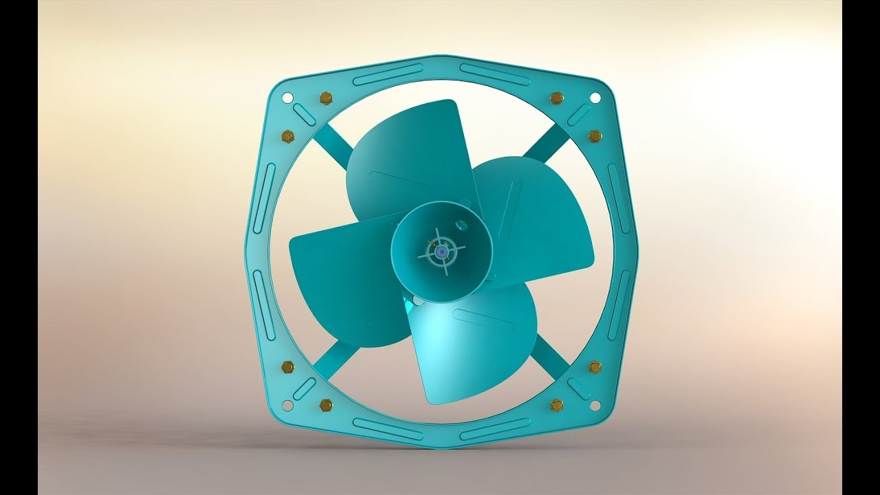 Heavy Duty Industrial Exhaust Fan Design in Solidworks (Small Scale Model)