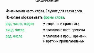 Окончание и основа слова (5 класс, видеоурок-презентация)