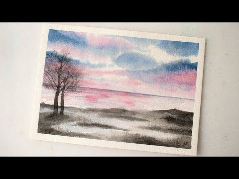 Watercolor LANDSCAPE simple painting demonstration for beginners