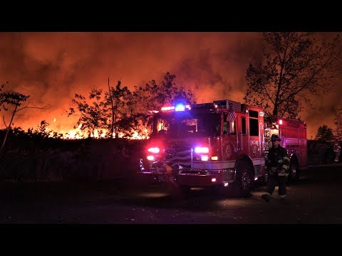 Massive 4th Alarm Brush Fire Carlstadt NJ in the Meadowlands Area