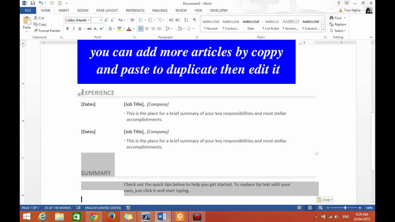 Word 2013 How To Quickly And Easily Make A Resume Or Cv To Apply