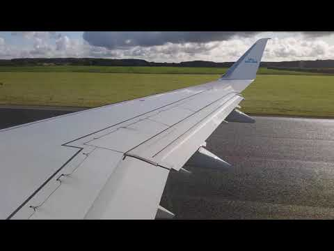 KLM Flight Taxiing And Takeoff At Humberside Internationa Airport, United Kingdom To Amsterdam