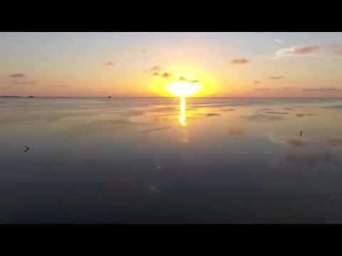 Drone Sunset Flying Over Water