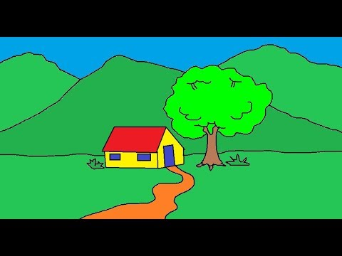 How to draw Scenery in MS Paint l MS Paint Tutorial | Learn Ms Paint | Simple Art for Kids ComeTube