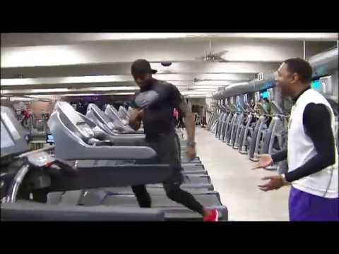 AMAZING TREADMILL WORKOUT: Watch fitness trainer Leo Cort run across six treadmills on live TV