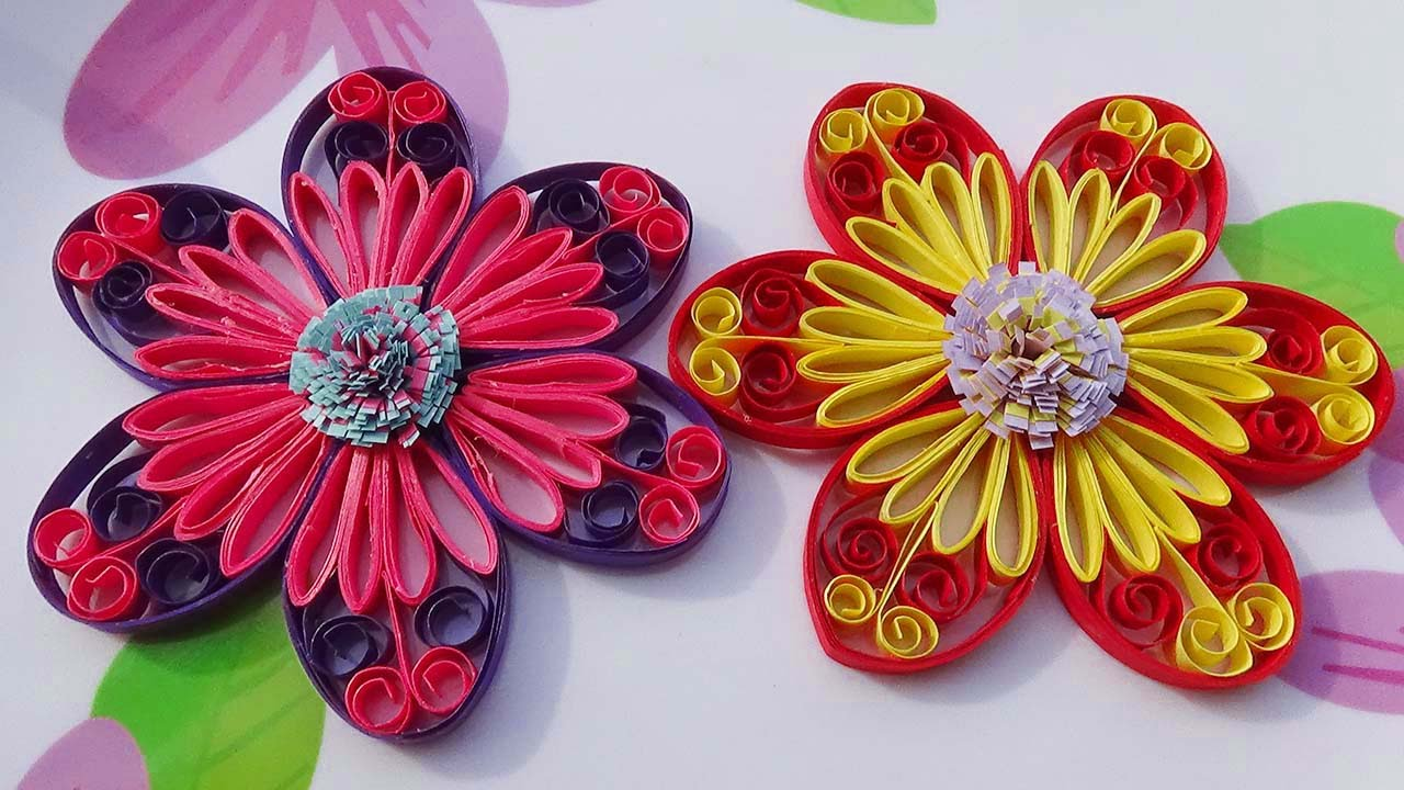 Papercraft Quilling Made Easy # How to make Beautiful flower using - Paper Art Quilling