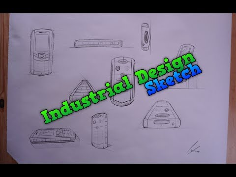 Industrial Design Mobile Phone Sketch - Product Drawing a waterproof Mobile Phone Sketching