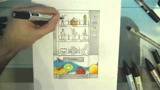 Vending machine by Levent ACAR - #3 - Speed Drawing Time-lapse