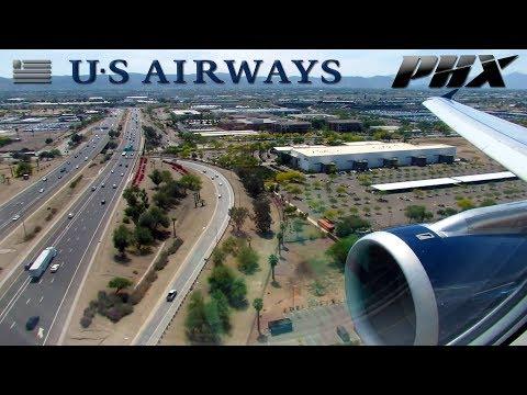 US Airways Airbus A321 Landing at Phoenix Sky Harbor Int'l Airport (PHX)