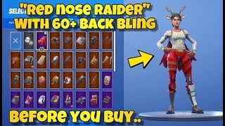 "BEFORE YOU BUY - ""RED-NOSED RAIDER"" SKIN Showcased With 60+ BACK BLINGS! Fortnite Battle Royale"
