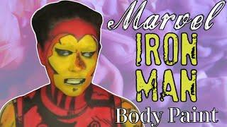 Marvel Avengers Iron Man Makeup and Body Paint Cosplay Tutorial (NoBlandMakeup)