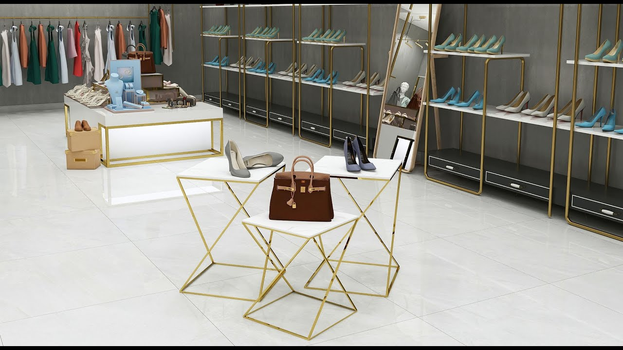 Download Commercial Gold Retail Clothing Shoe Display Table Fashion Garment Store Window Display Furniture