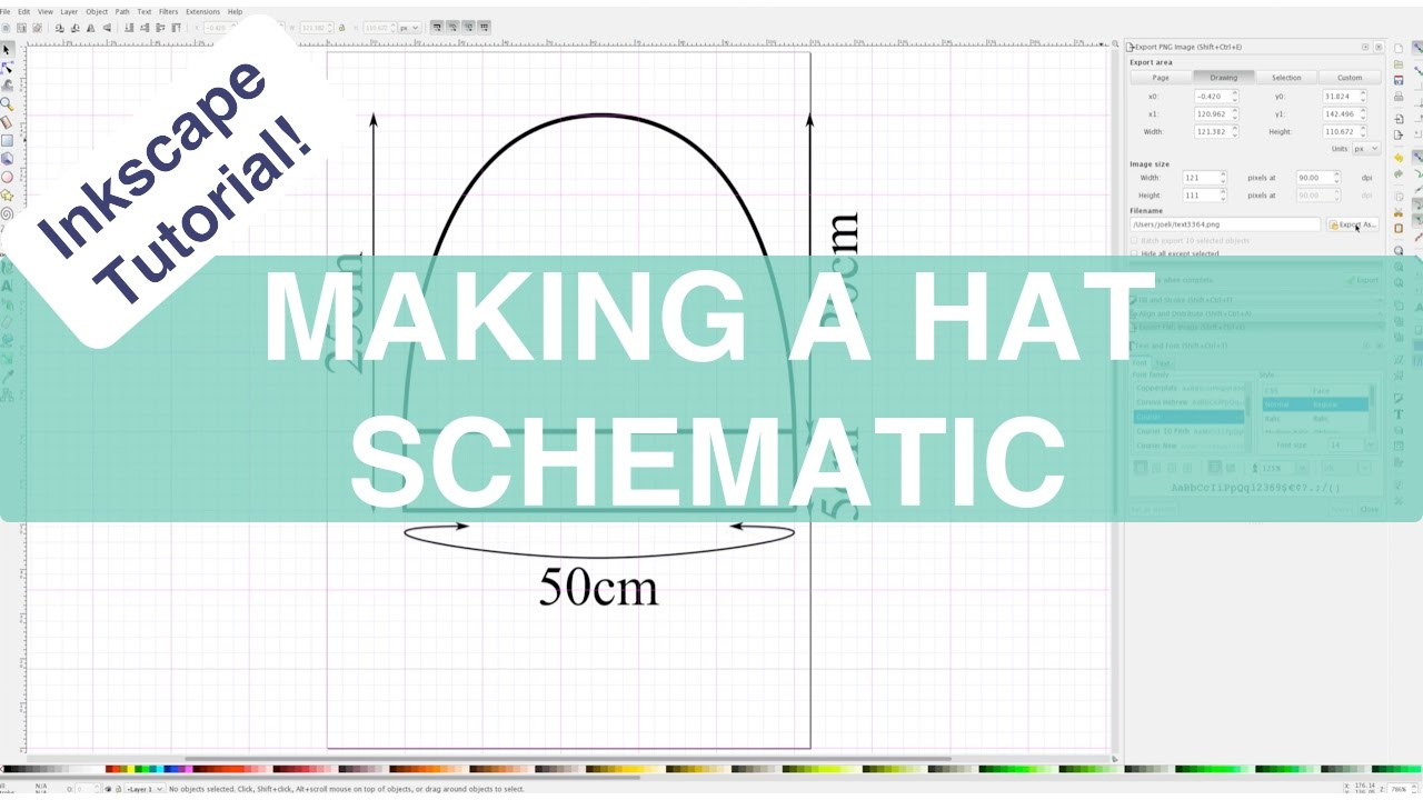How to Create a Hat Schematic in Inkscape // Inkscape Tutorials ...
