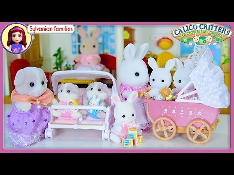 Sylvanian Families Calico Critters Twin Babies Guinea Pigs Pram Rabbits Silly Play Kids Toys