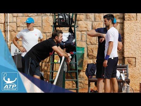 Wawrinka And Djokovic Train At Monte-Carlo 2017