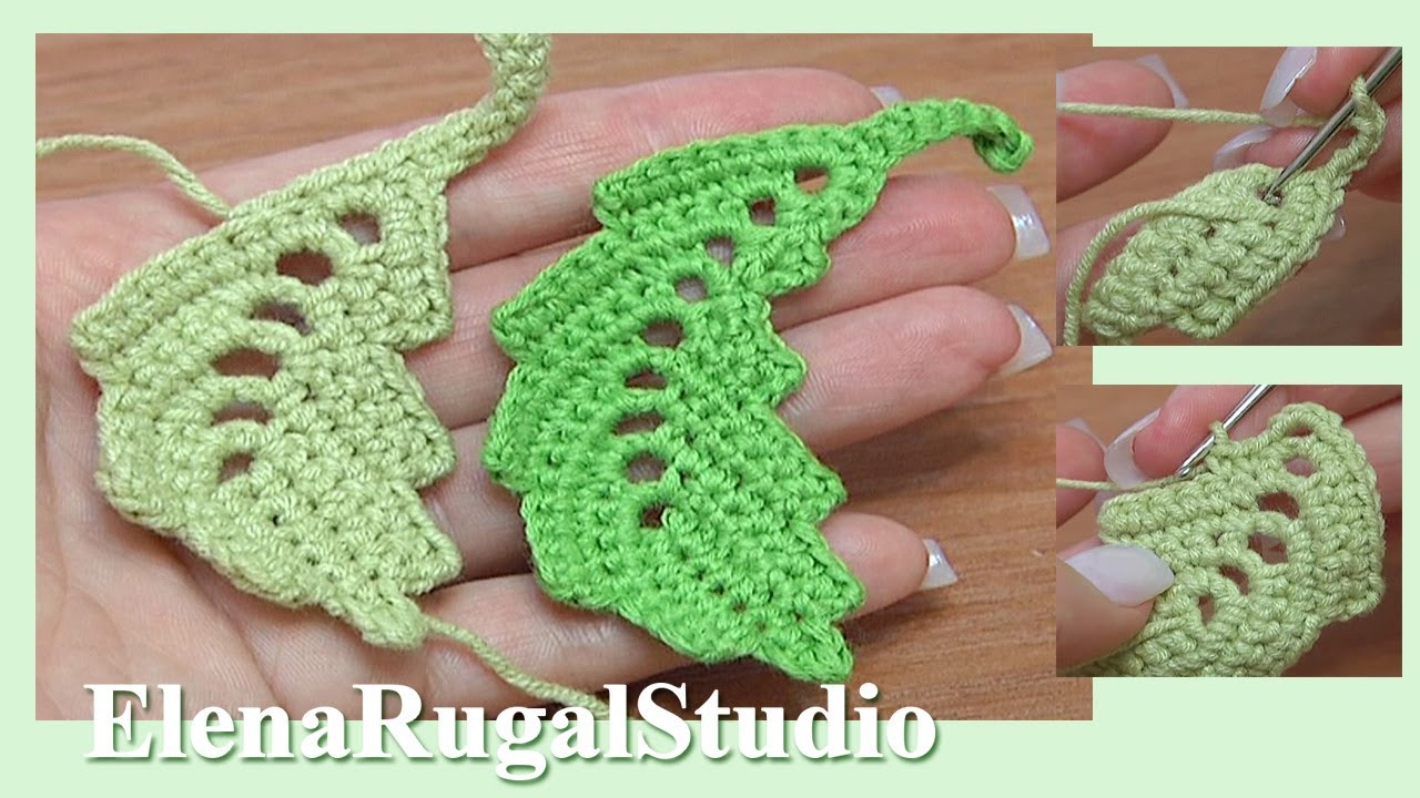 How To Crochet Curved Two Side Leaf Chain Spaces Inside Tutorial 2