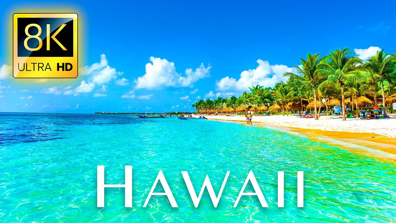 Fly Away to HAWAII in 8K ULTRA HD - Tropical Island Tour with Nature Relaxing Music & Drone Vide
