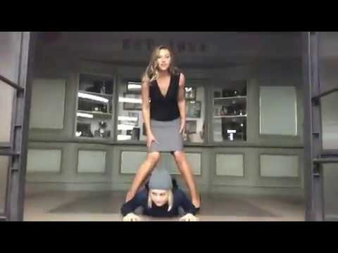 09282017  Rose McIver and Aly Michalka Goofs Around