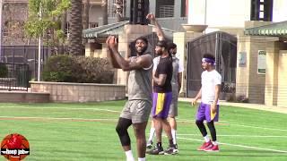 LeBron James Dwight Howard Anthony Davis Play Football At Lakers Practice! HoopJab NBA