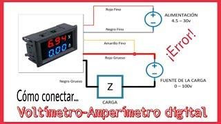 CÓMO CONECTAR UN VOLTÍMETRO-AMPERÍMETRO DIGITAL. DOS TIPOS DE CONEXIÓN.