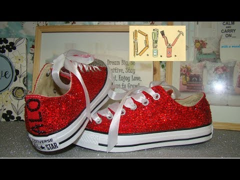 How to  DIY Crystal Converse with Your Name and Ribbon Laces - YouTube dffd76227a52