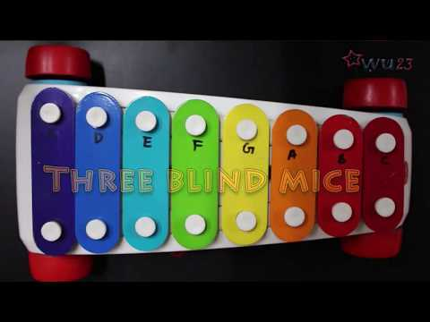 Lets Play Three Blind Mice children nursery rhyme on toy xylophone