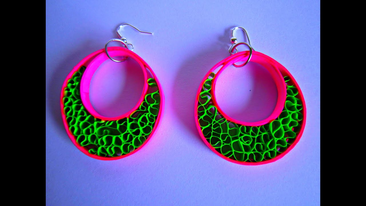 PAPER EARRINGS - Latest Fancy Home made Earrings Making Tutorial ...