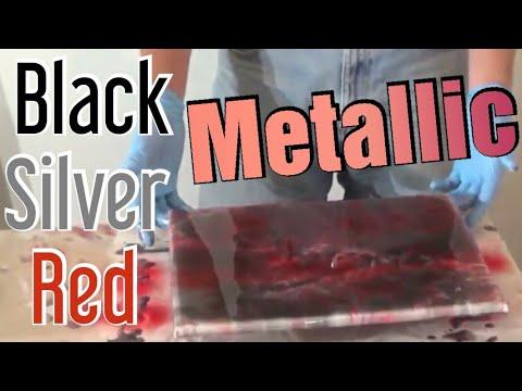 DIY Epoxy Metallic Countertop- Red, Silver, and Black