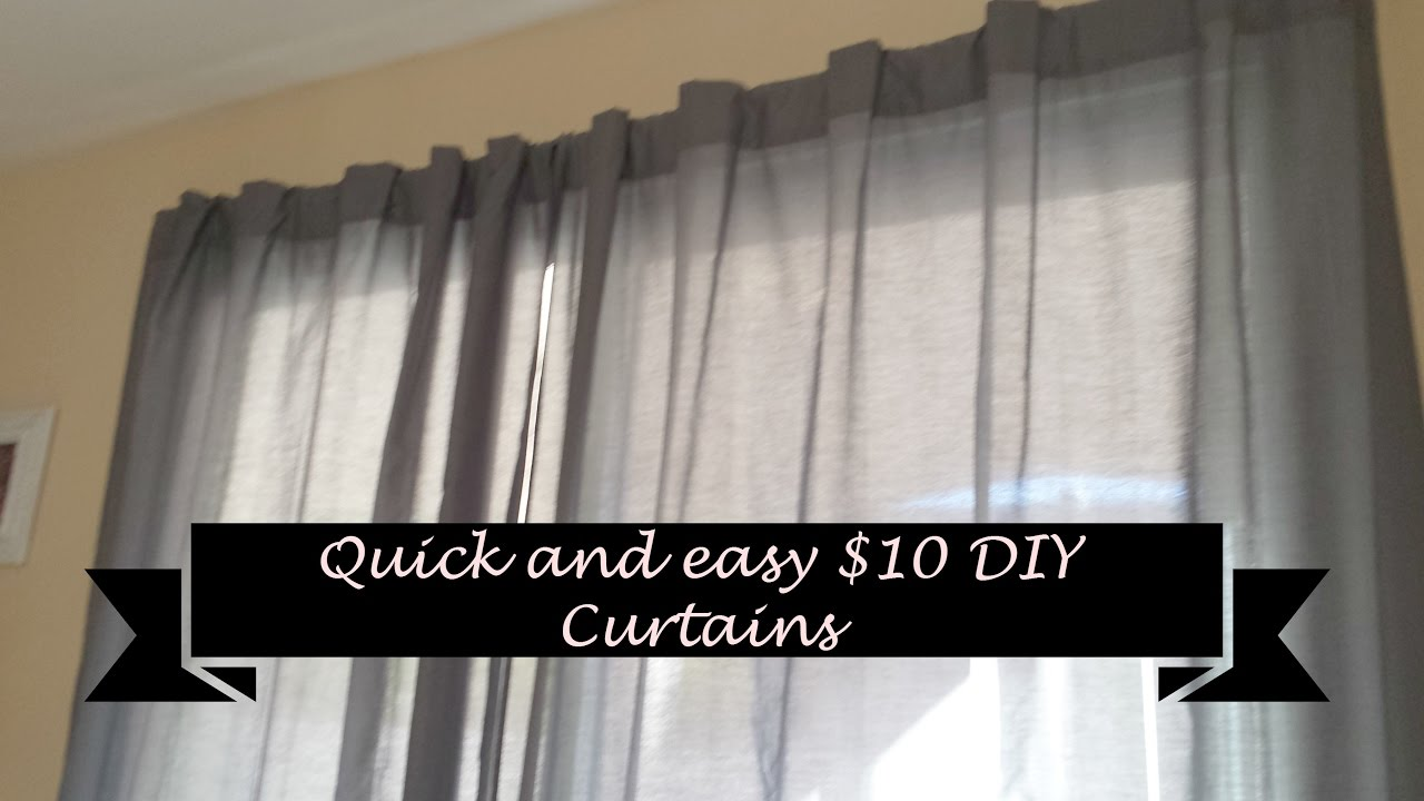 how to make quick and easy diy curtains for 10 youtube. Black Bedroom Furniture Sets. Home Design Ideas