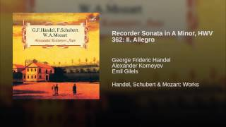 Recorder Sonata in A Minor, HWV 362: II. Allegro