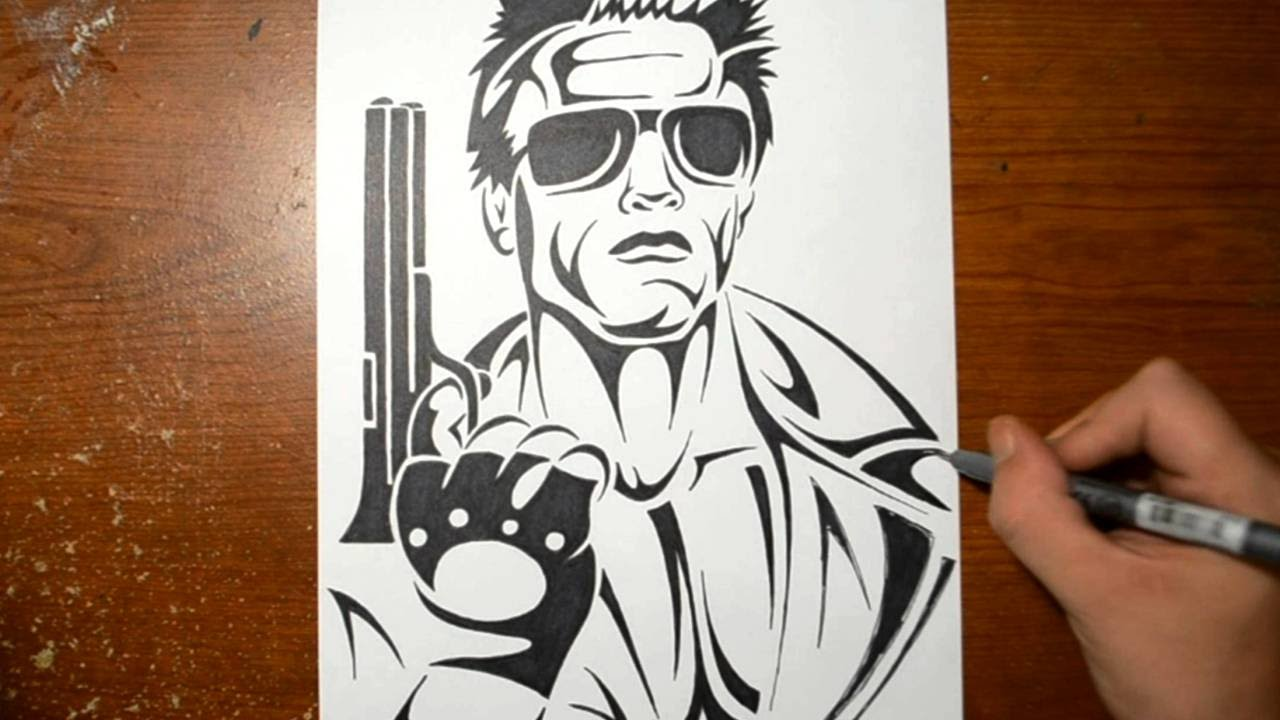 drawing the terminator in a cool tribal tattoo design