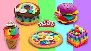 Play Doh Rainbow Food. Playdoh Video Compilation. Dolls Toy Food