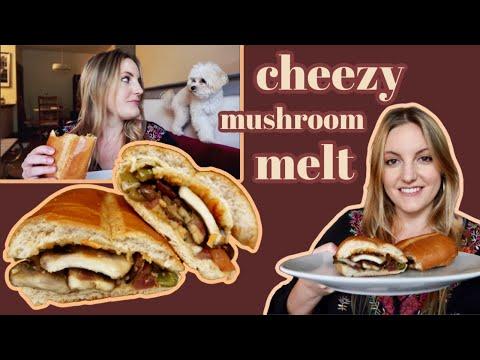cheezy mushroom melt | quick easy on the go + vegan