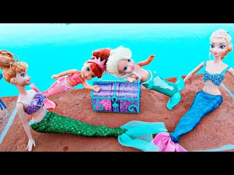 Thumbnail: Elsa and Anna toddlers become mermaids with Ariel and Barbie and find a treasure