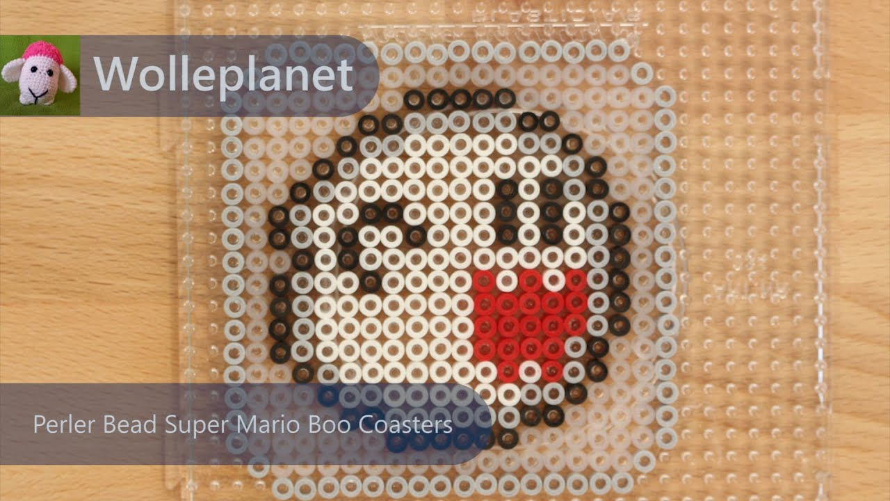 Super Mario Boo Perler Bead Keychain