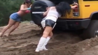 Girls Stuck in Mud Cars Stuck in Mud Compilation
