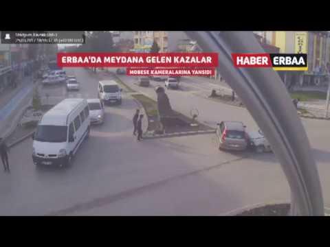 Erbaa'da bir birinden ilginç trafik kazaları