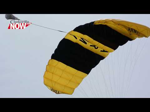 Golden Knights parachute team jump at Outlaw Field