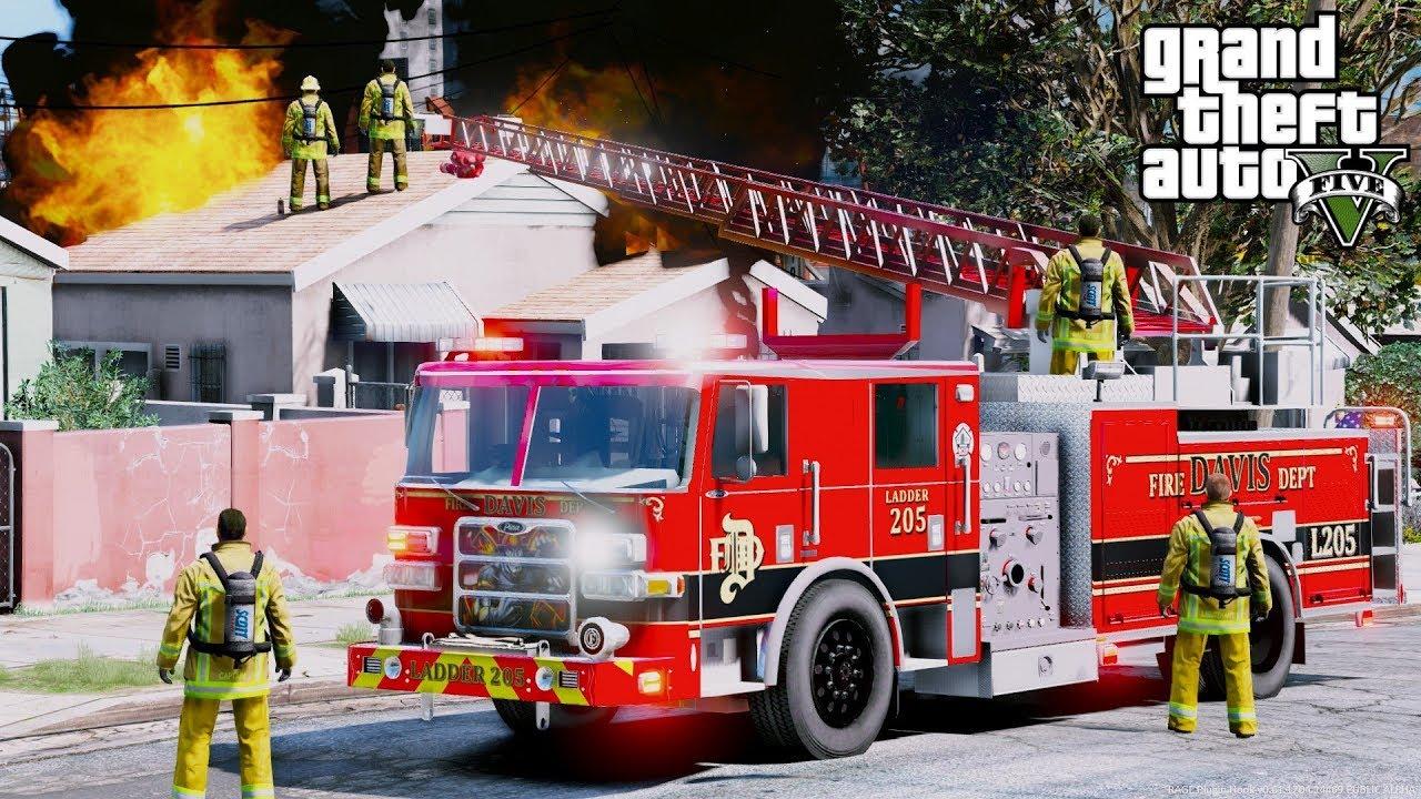 GTA 5 Firefighter Mod 70 - Davis Fire Department Responding To Fires