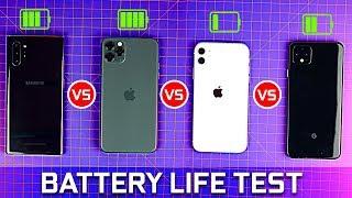Google Pixel 4 vs iPhone 11 Pro Max vs Note 10+ vs iPhone 11 - Battery life Comparison