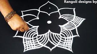 simple geethala muggulu with 5x3 dots - how to draw new padi kolam - friday rangoli