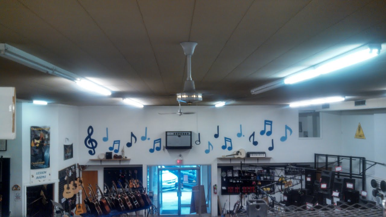 StratoFanUnionEnvirofan IndustrialCommercial Ceiling Fans in a music store  YouTube