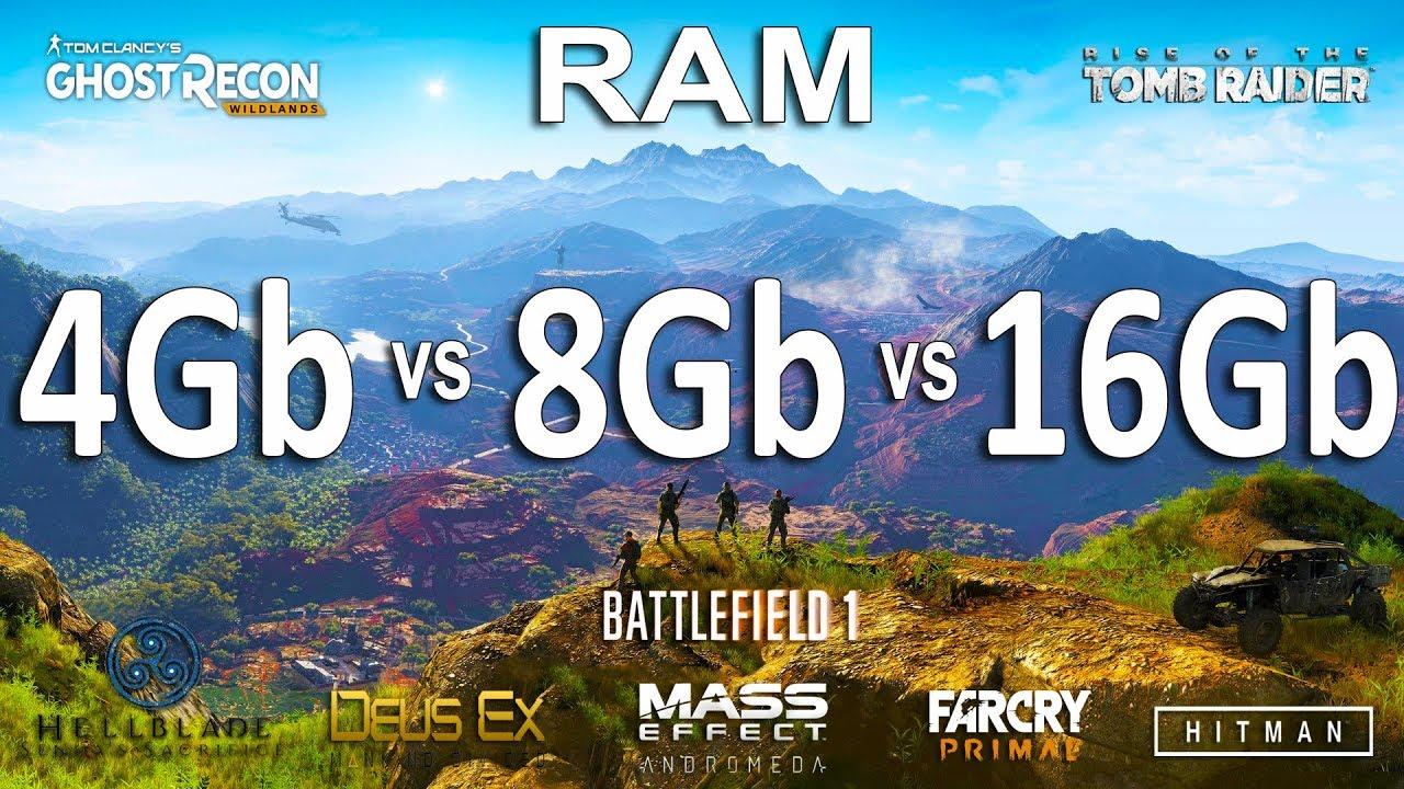 RAM : 4GB vs 8GB vs 16GB Test in 8 Games - YouTube