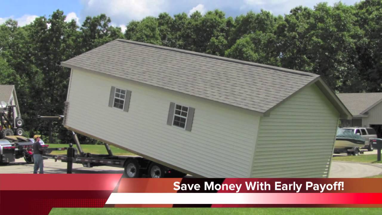 Rent to own storage sheds youtube for Barn home builders near me