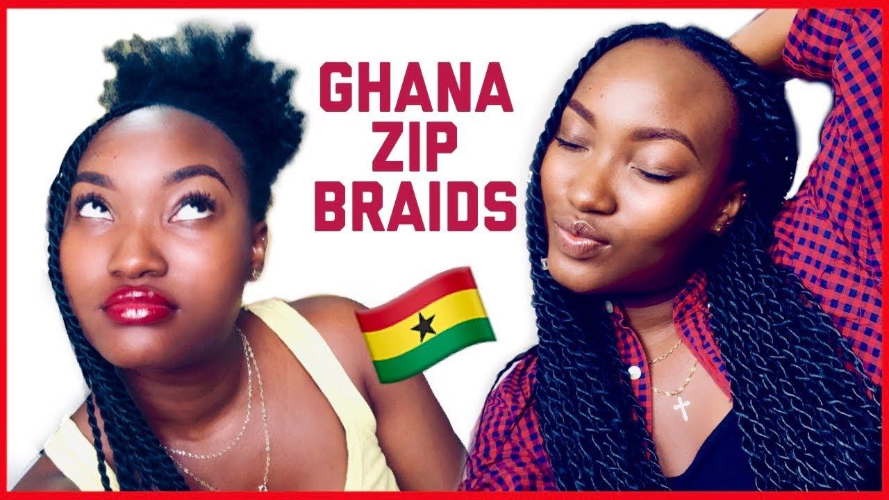 Senegalese Twists On Medium To Long Natural Hair Ghana Zip Braids Fashion Style Nigeria