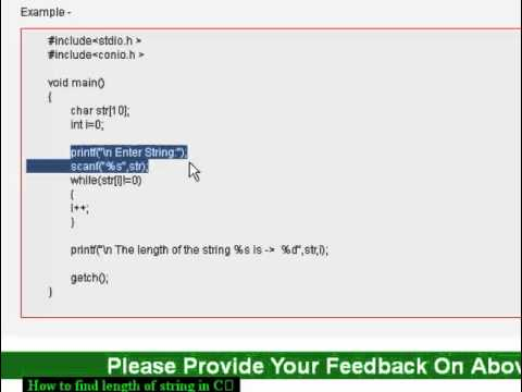 how to find length of string in c youtube. Black Bedroom Furniture Sets. Home Design Ideas