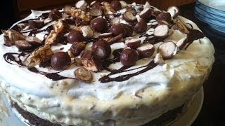 Ice Cream Cake Recipe - Snickers And Malted Milk Balls - Instructional Video