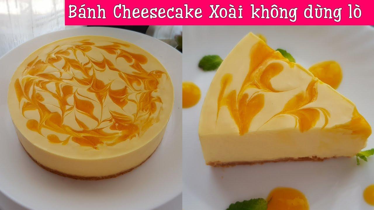 Bánh cheesecake xoài mềm mượt như kem, không dùng lò nướng