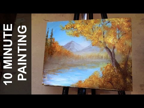 Painting a Autumn Forest Landscape with Acrylics in 10 Minutes